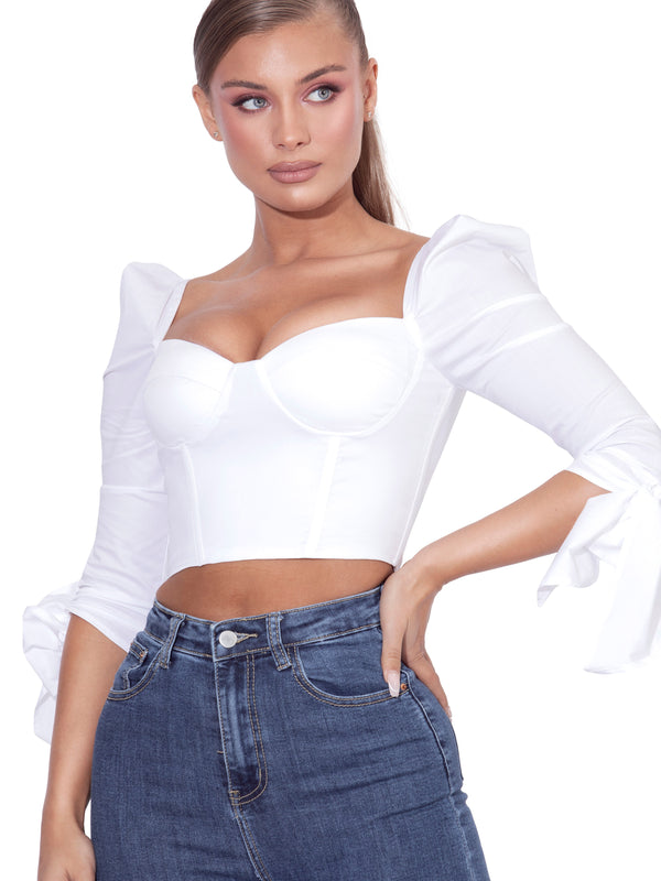 Jaylene White Stretch Cotton Corset Top