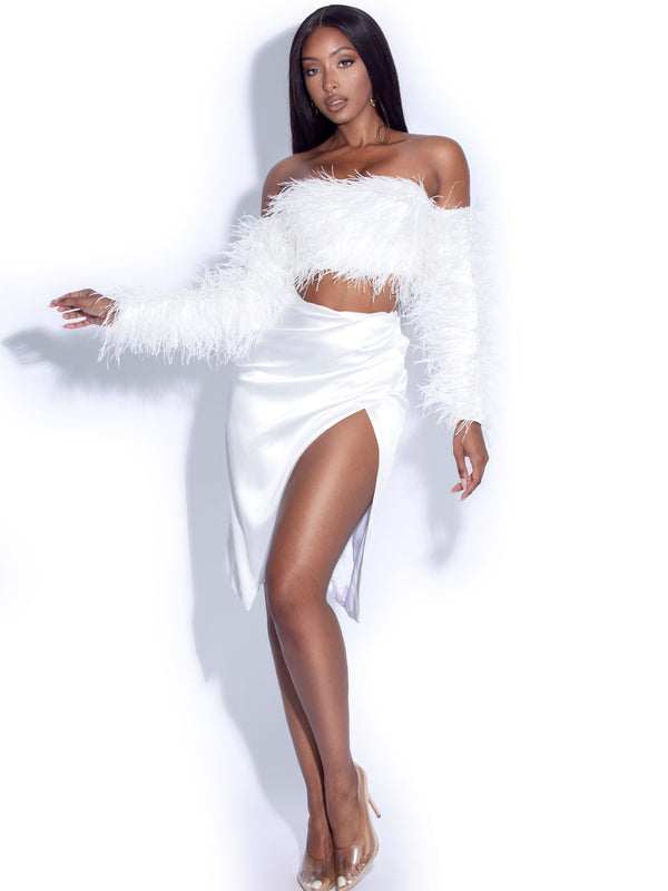 Monique White High Slit Satin Skirt