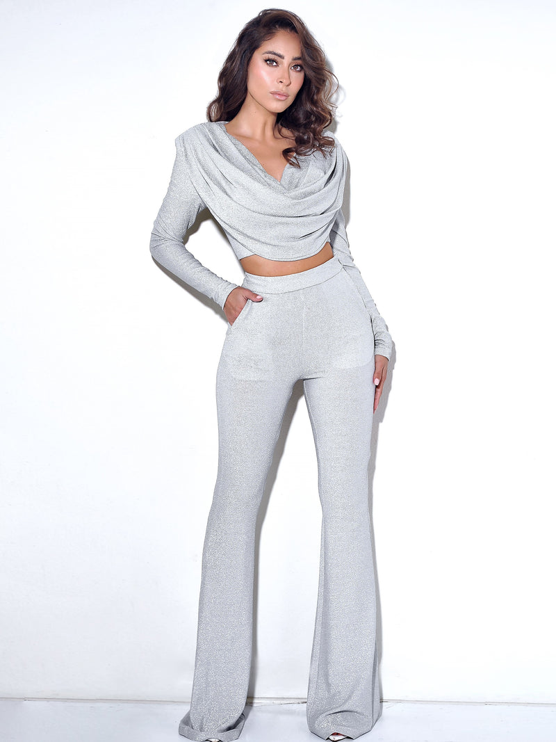 Xandra Silver Glitter Draping Long Sleeve Top