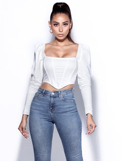 Unity Long Sleeve White Corset Top