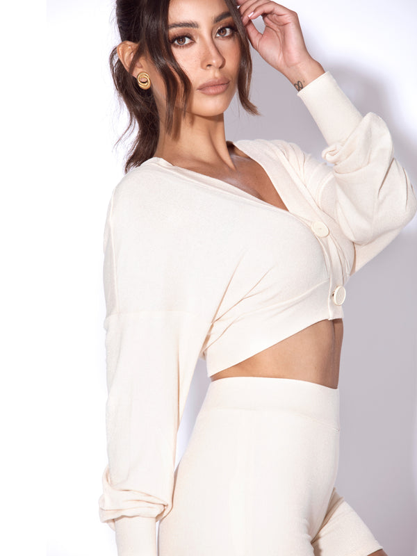 Paiton Egg White Knit Crop Top Cardigan