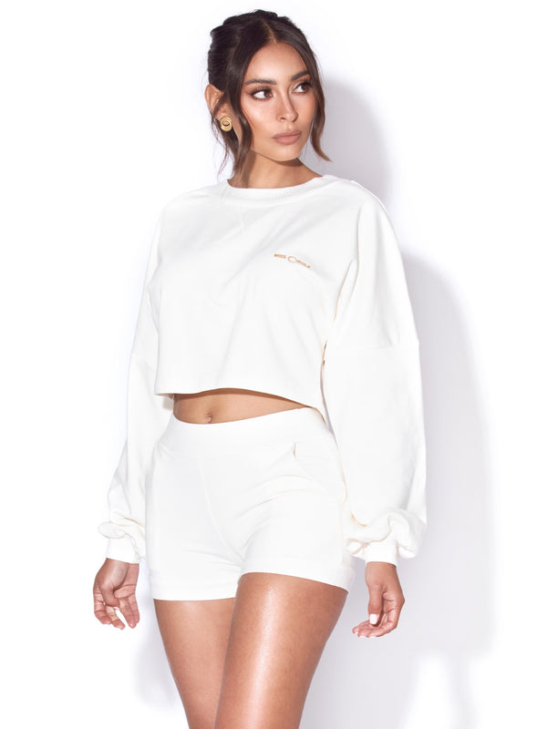 Reya Ivory White Miss Circle Sweat Shirt