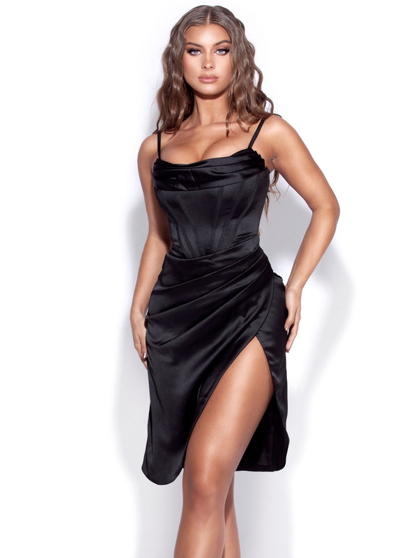 Uliana Black Satin Draped Corset Dress