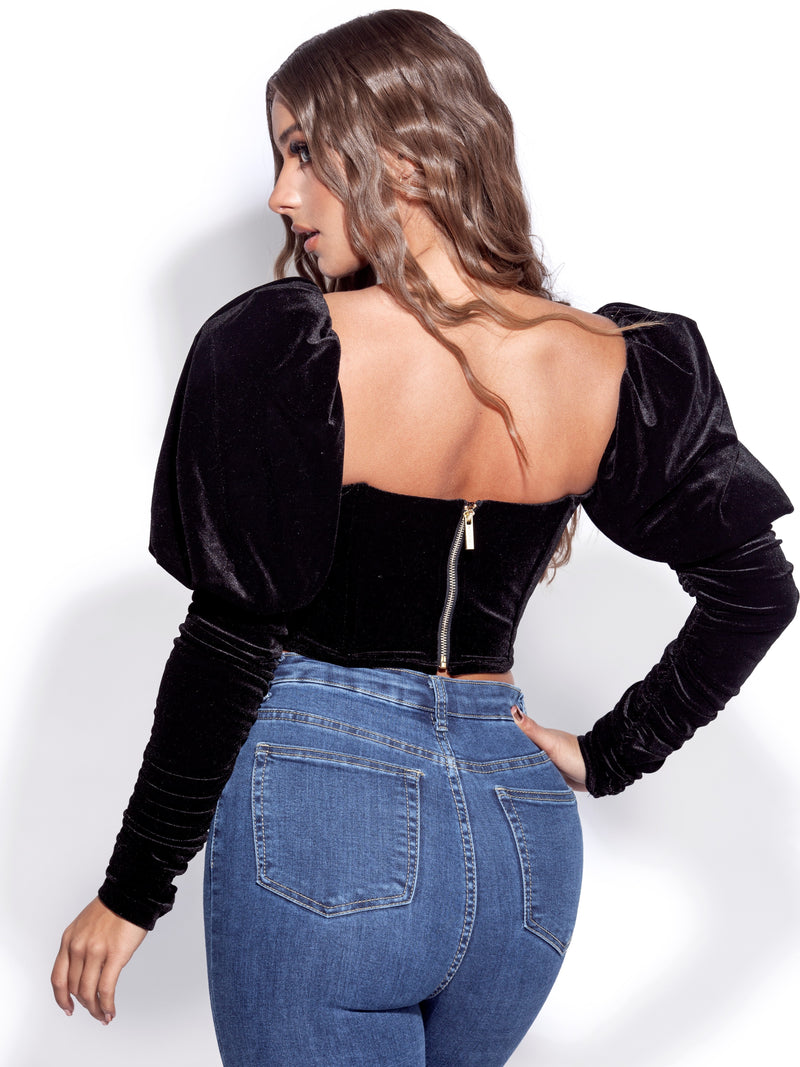 Vania Black Velvet Long Sleeve Corset Top