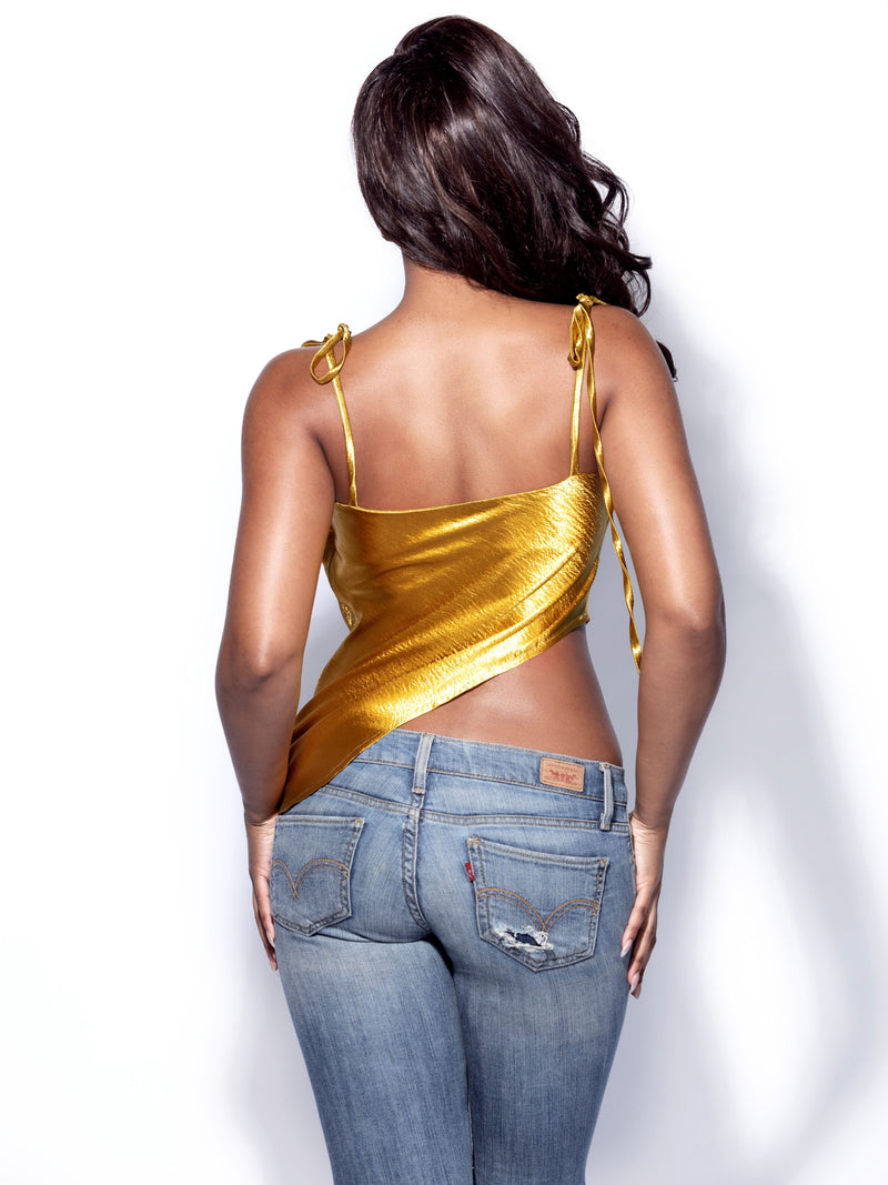 Viona Gold Asymmetric Satin Top