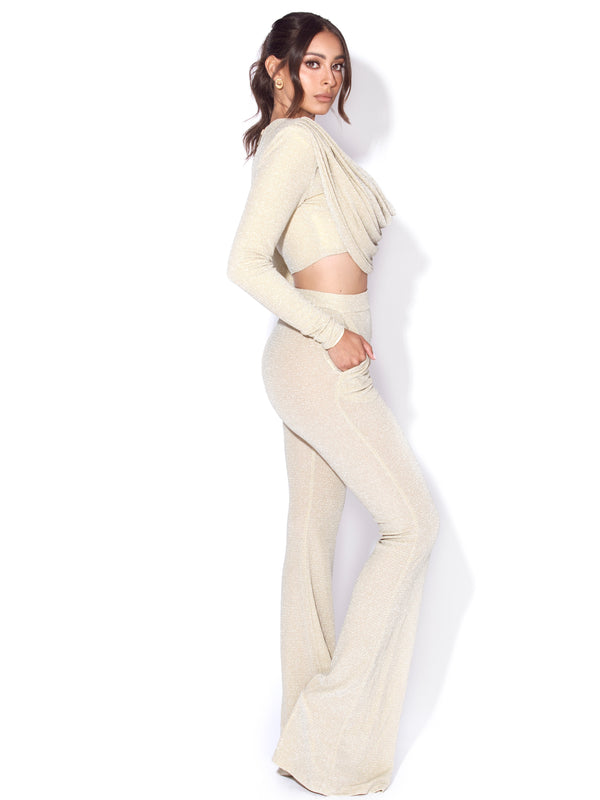 Xiara Pale Yellow Glitter Flare Trousers