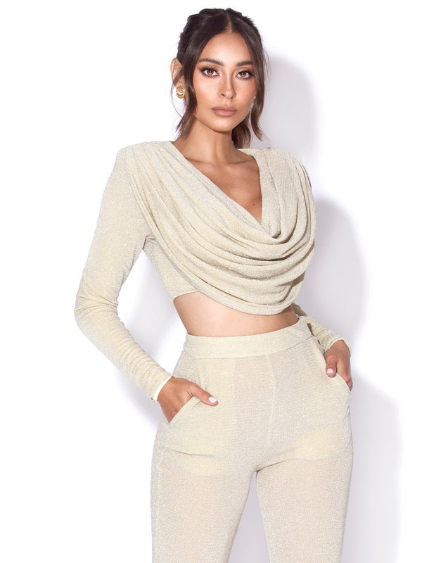 Xandra Pale Yellow Glitter Draping Long Sleeve Top