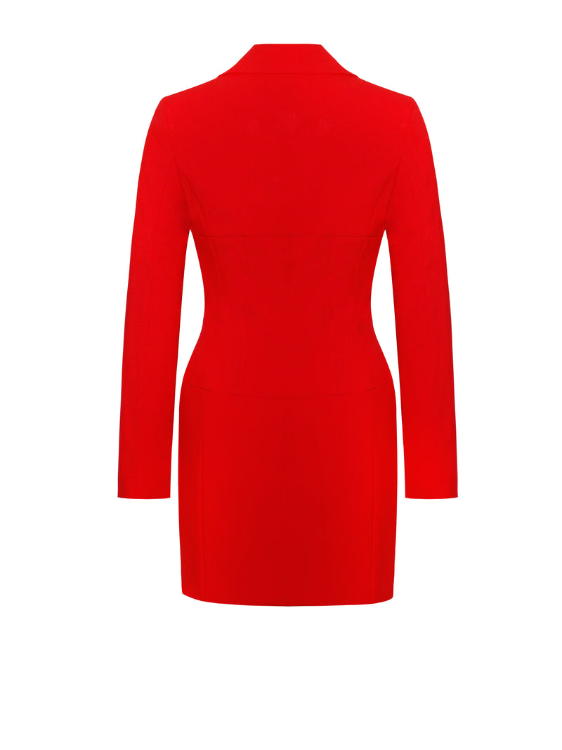Flattery Red Long Sleeve Blazer Dress - Miss Circle
