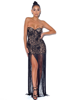 Become The One Black Lace Long Fringed Strapless Dress - Miss Circle