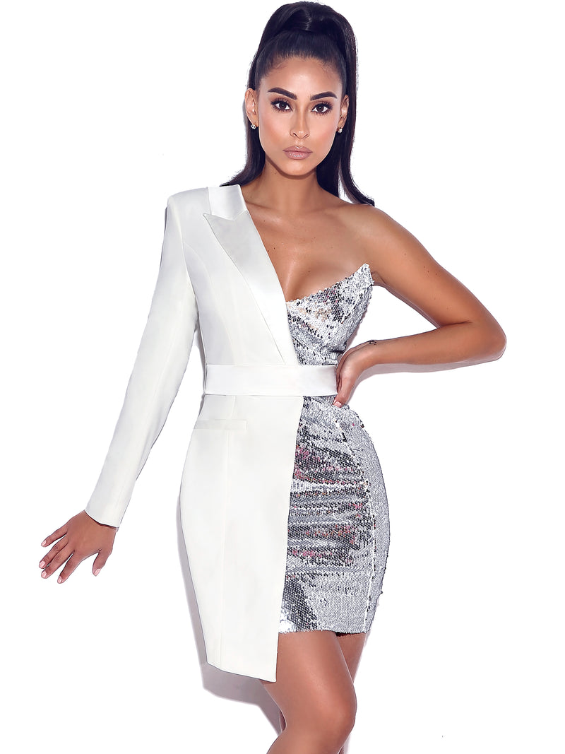 Silver Night White One Sleeved Sequin Crepe Tuxedo Blazer Dress - Miss Circle