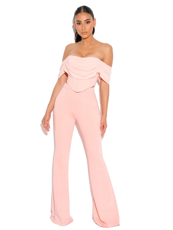 Taya Salmon Pink Crepe Flared Trousers