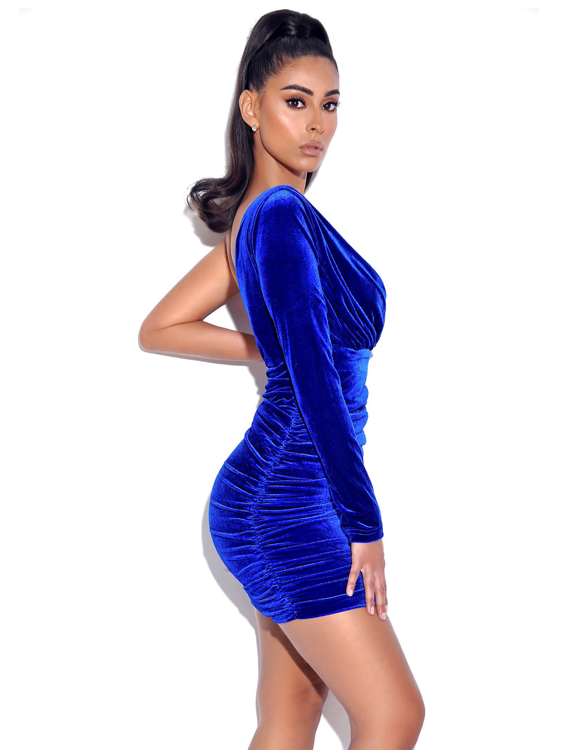 Elevated Blue Velvet One Sleeve Dress - Miss Circle