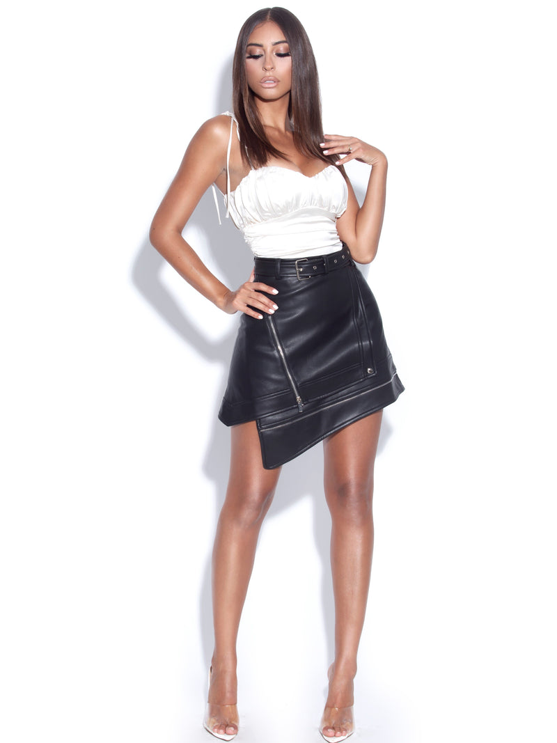 Esmee Asymmetric Faux Leather Mini Skirt
