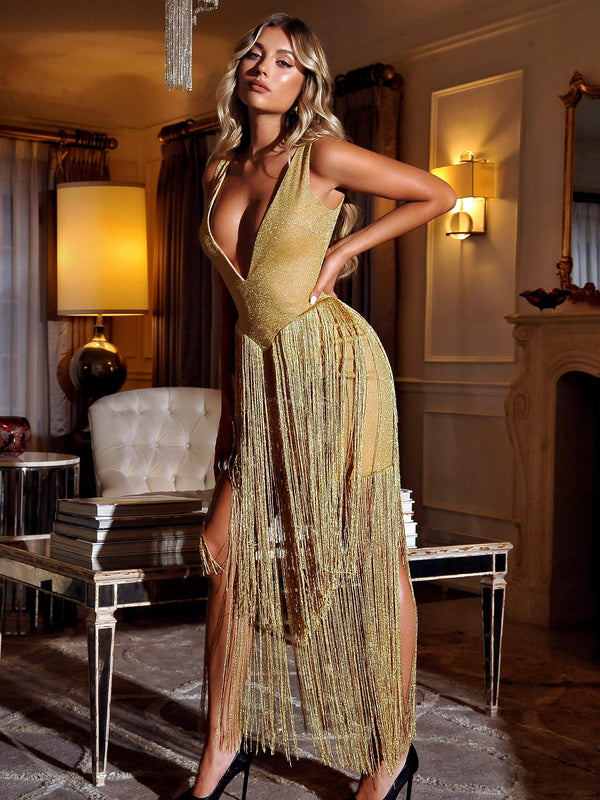 Reece Gold Deep V Fringe Dress