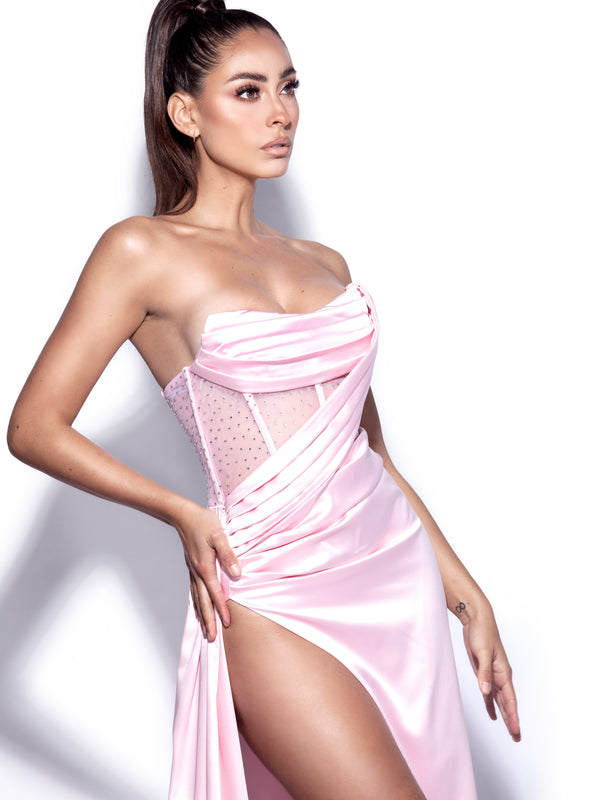 Holly Pink Crystallized Corset High Slit Satin Gown