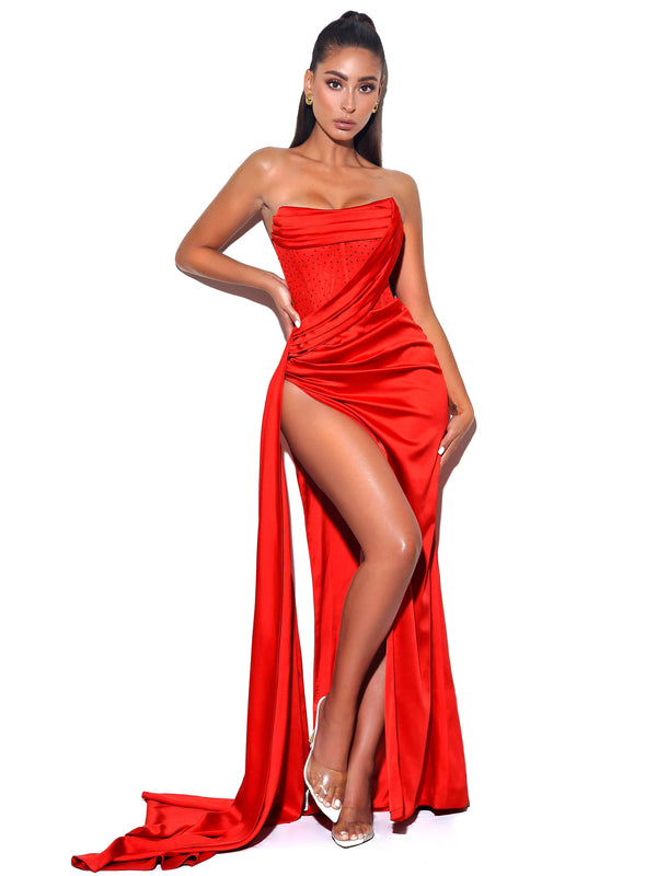 Holly Red Crystallized Corset High Slit Satin Gown