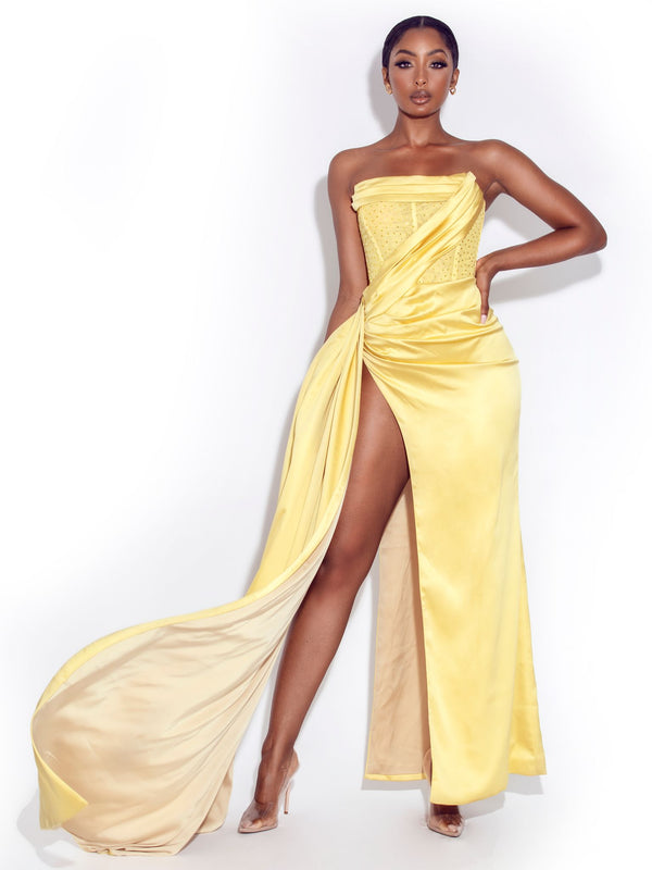Holly Lemon Crystallized Corset High Slit Satin Gown