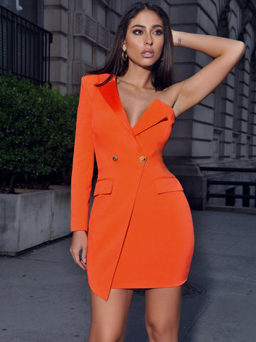 Keep One Up One Sleeved Orange Crepe Tuxedo Blazer Dress