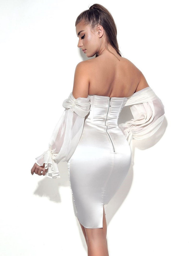 Lydia Pearl White Satin Off Shoulder Puff Sleeve Dress