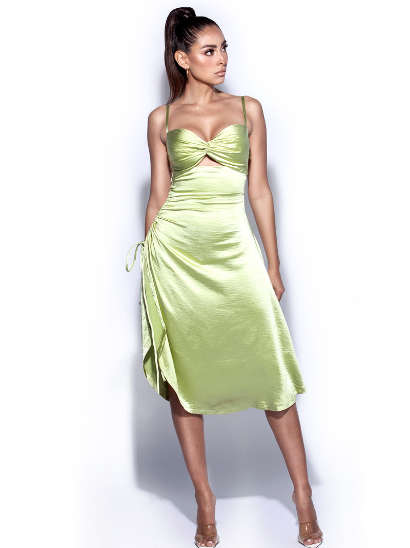 Keira Olive Twist Front Side Slit Satin Dress