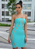 Elaine Light Blue Bandage Dress with Detailed Gold Hardware