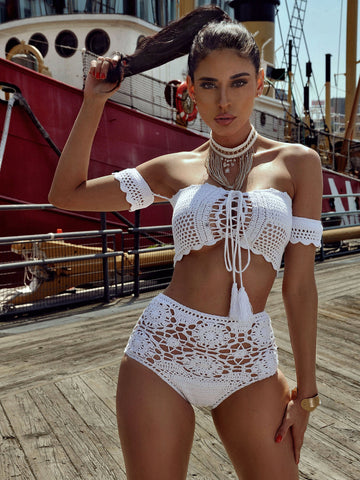 Acapulco White Off Shoulder Crochet Two Piece Swimsuit