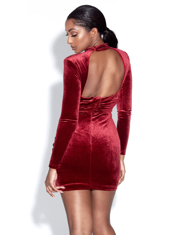 Micaela Wine Backless Velvet Dress With Crystals