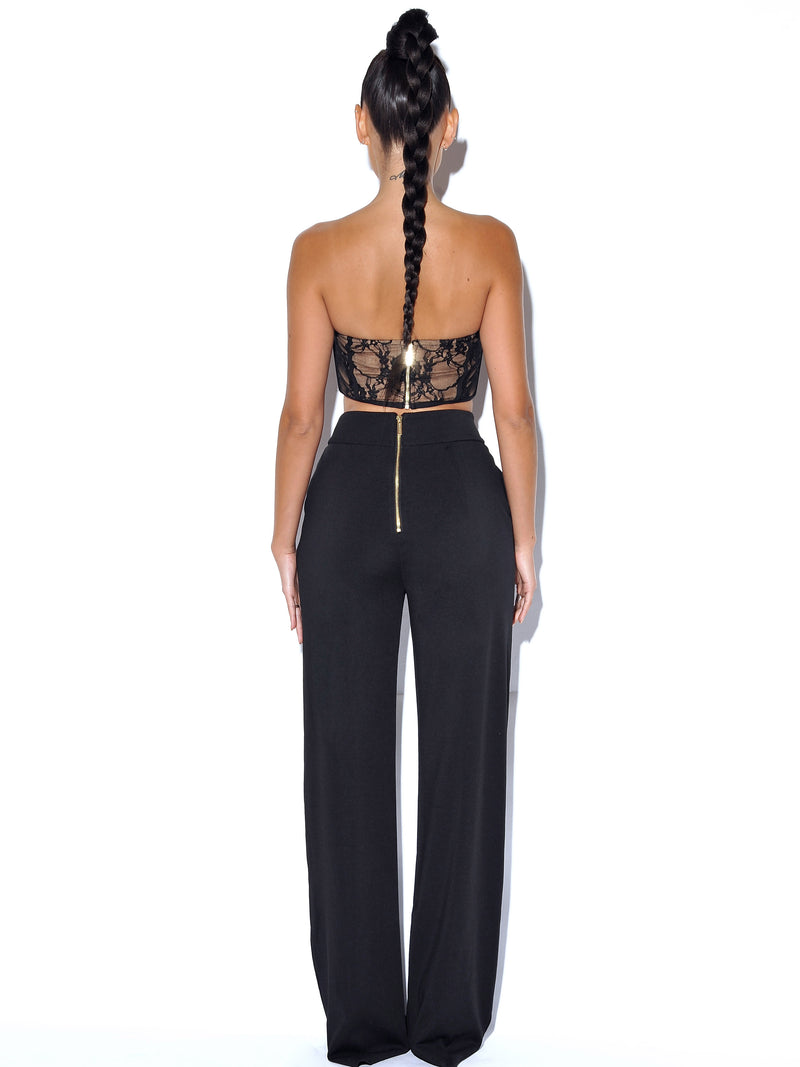 Never Enough Black Stretch Crepe Wide Leg Trousers - Miss Circle