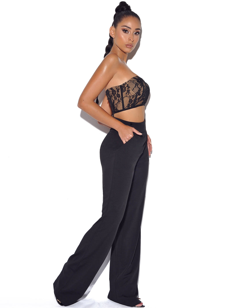 New Romantics Stretch Black Lace Cropped Top - Miss Circle
