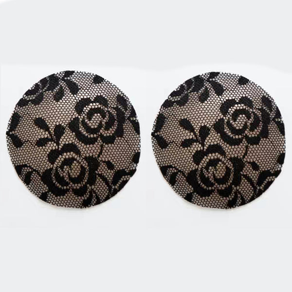 Black Lace Silicone Reusable Invisible Self-Adhesive Nipple Covers - Miss Circle