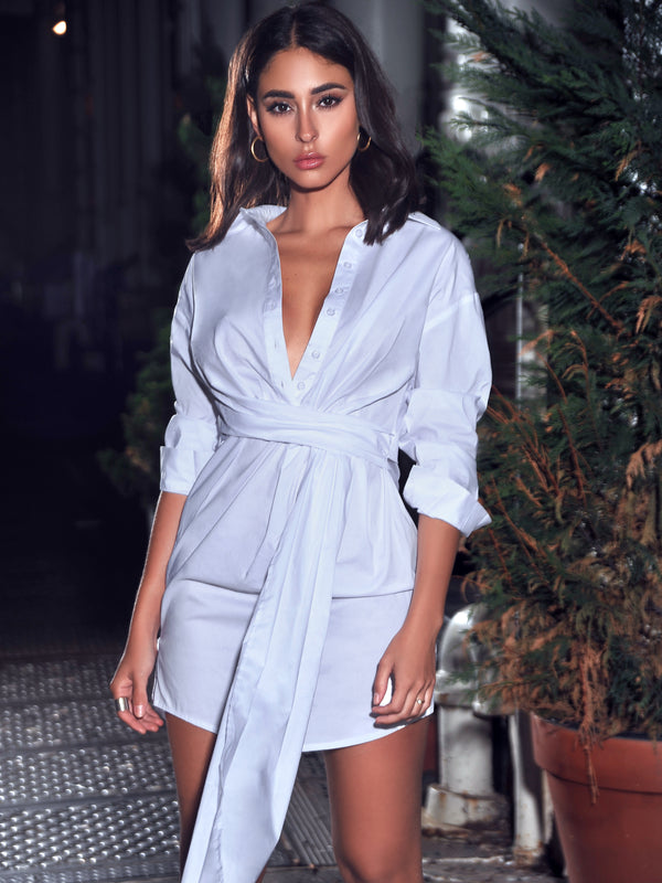 On My Mind White Draped Stretchy Boyfriend Shirt Dress