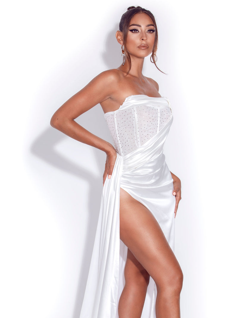 Holly White Crystallized Corset High Slit Satin Gown