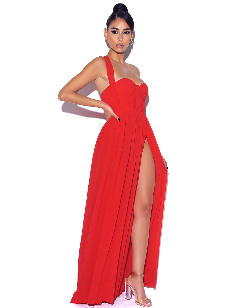 Paradise High Slit Red Chiffon Maxi Dress - Miss Circle