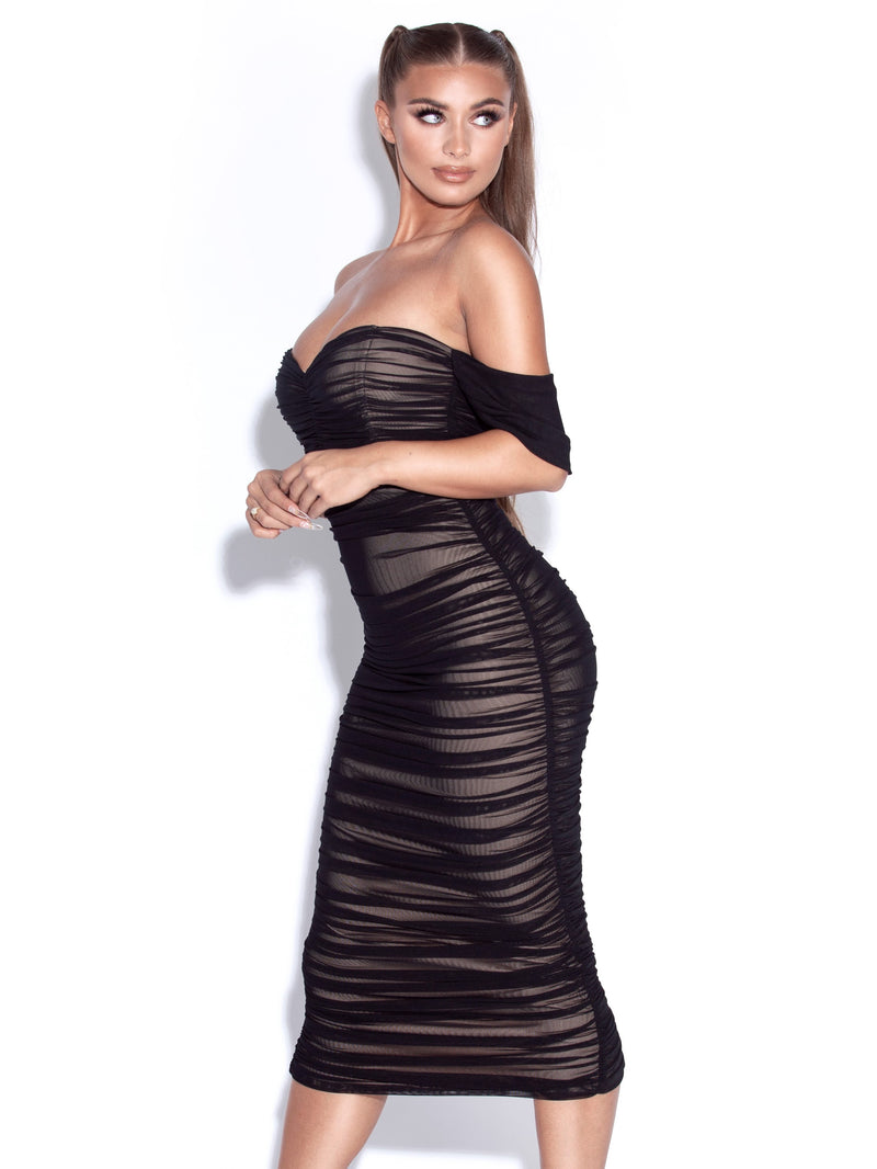 Quenby Black Off Shoulder Mesh Maxi Dress