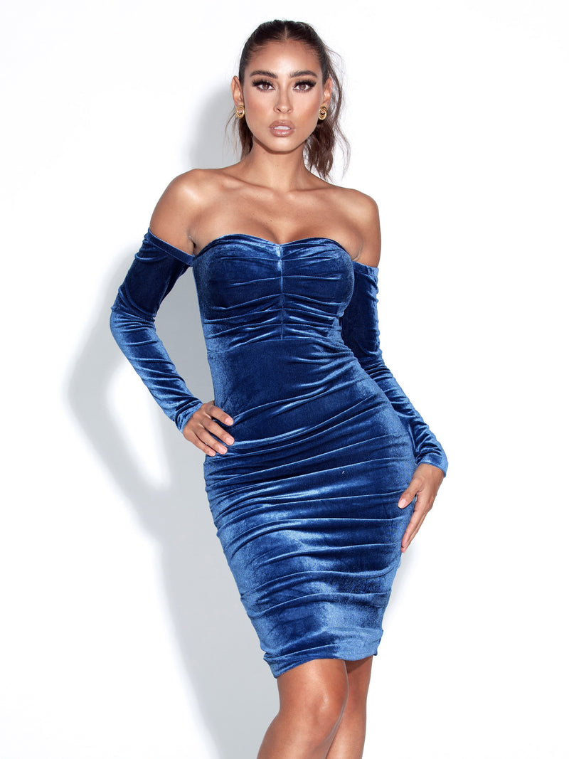 Rani Navy Blue Off Shoulder Long Sleeve Ruched Velvet Dress