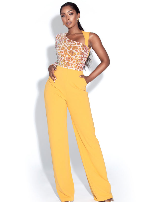 BBC-Rheanna Sequined One Sleeve Yellow Jumpsuit
