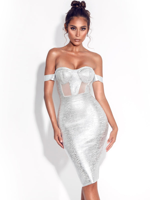 Irreplaceable Off Shoulder Silver Metallic Bandage Dress