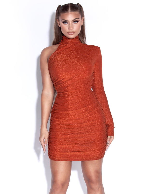 Starlight Orange Metallic One Sleeve Dress