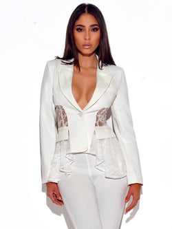 True Love White Lace Stretch Crepe Blazer