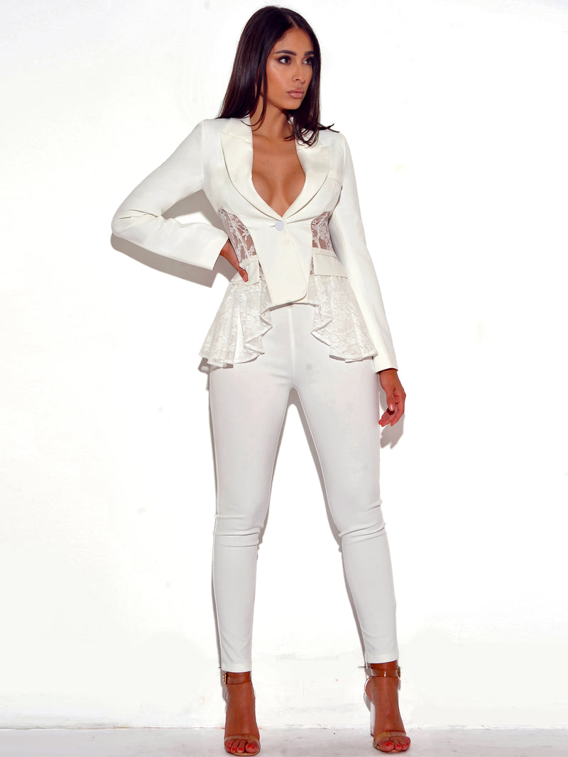 True Love White Lace Stretch Crepe Blazer - Miss Circle