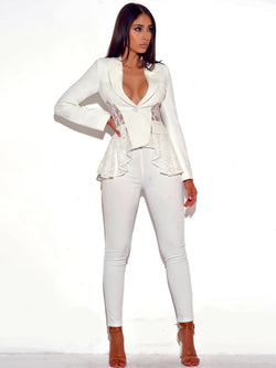 True Love White Stretch Crepe Pants - Miss Circle