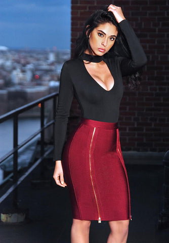 Taryn Cutout Long Sleeve Stretch Crepe Bodysuit