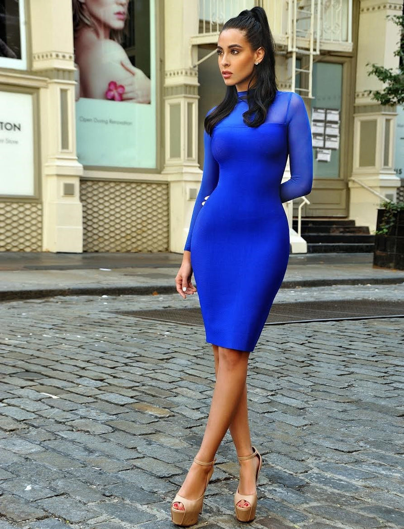 Miriam Blue Sheer Long Sleeve Bandage Dress - Miss Circle