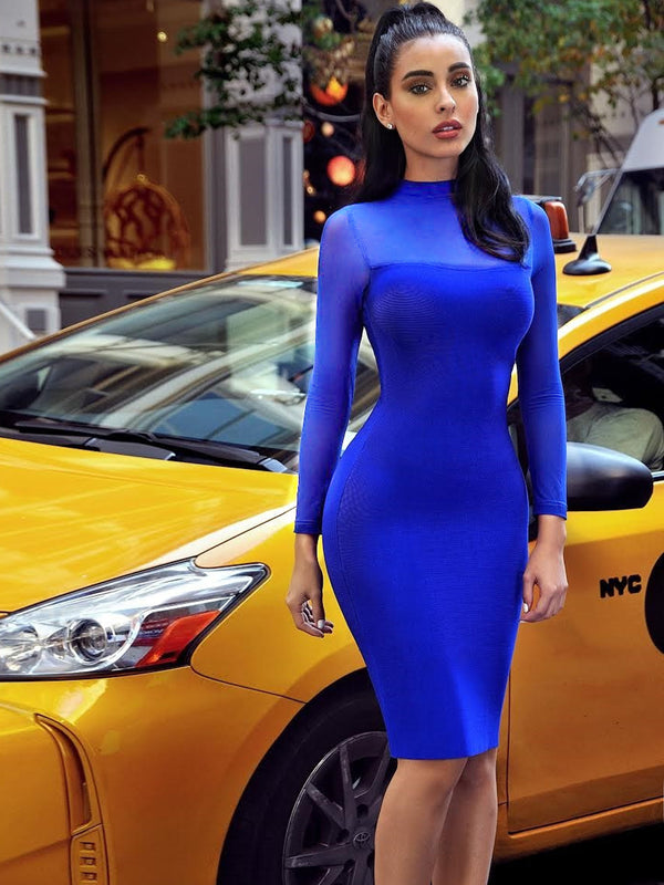 BBC Miriam Blue Sheer Long Sleeve Bandage Dress - Miss Circle