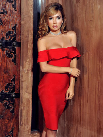 Nina Red Off Shoulder Bandage Dress with Serrated Trim