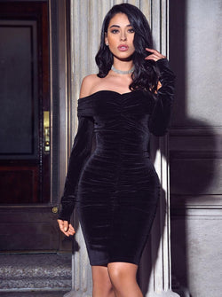Ashton Off Shoulder Velvet Long Sleeve Bodycon Dress - Miss Circle