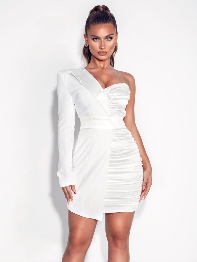 Olva White One Sleeve Crepe Blazer and Satin Dress