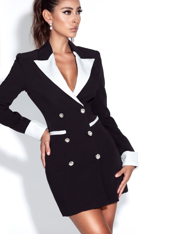 Willow Silver Glitter Black Blazer Dress