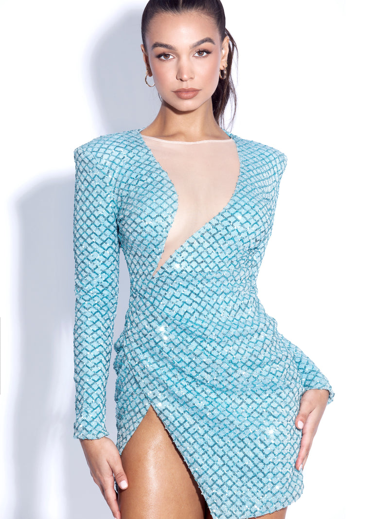 Yuna Long Sleeve Sequined Dress