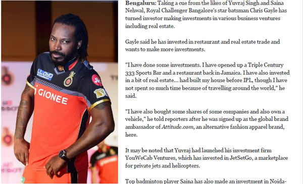 ROYAL CHALLENGER BANGALORE'S STAR BATSMAN CHRIS GAYLE TURNS INVESTOR - Published by AhmedabadMirror